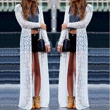Women Cardigan Bikini Kimono Lace Maxi Cover Up Beach Dress Beach Wear TXWD