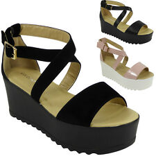NEW WOMENS LADIES ANKLE STRAP MID HEEL TREAD PLATFORMS PARTY SHOES SANDALS SIZE