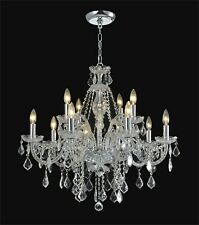"""12-light Clear Crystal chandelier silver /gold pendant lamp D:32""""xH:28"""""""