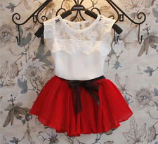 New Girls Pageant Party Clothing Set White Top + Chiffon Skirt Outfit 2 Pcs/Set