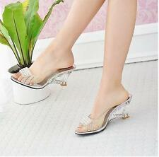 Womens Ladies Sexy Wedge Heels Studded Slippers Shoes Clear side Peeptoe Plus sz