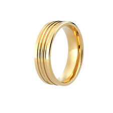 BRAND NEW HIS & HER'S SOLID HALLMARKED 9CT YELLOW GOLD PATTERNED WEDDING BAND