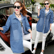 Fashion Women Casual Pockets Loose Denim Trench Jeans Coat jacket parka overcoat
