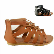 New Women Black & Tan Open Toe Strappy Lace Up Gladiator Sandals Flat Shoes #198