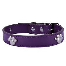 Pu Leather Studded Collar Dog Paw Shaped Collar Charms Small Pet Supplies 3Sizes