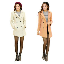 CHIC Women Slim Fit Lapel Faux Fleece Double Breasted Long Trench Coat Jacket
