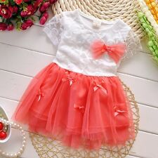 New Baby Girls Party Dress Pageant Floral Purple Pink Red Lace Chiffon Dress