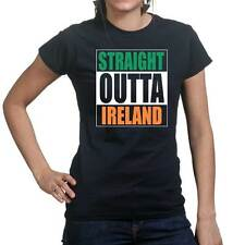 Straight Outta Ireland Funny Irish Compton Ladies T shirt Tee Top T-shirt