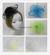 New Lady Girl Feather Mesh Fascinator Hat Hair Clip Cocktail Hat Church Wedding