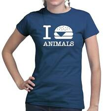 I Burger Love Animals Vegan Vegetarian Funny Ladies T shirt Tee Top T-shirt