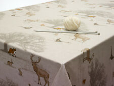 Beige Woodland Animals Oilcloth PVC Vinyl Tablecloth Round Square Rectangle