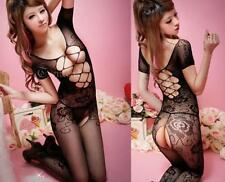 Sexy Lady Black Crotchless Fish Net Body Stocking Bodysuit Lingerie Nightwear DS