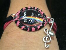 New MUSIC THEMED Bottlecap Bracelets with Charm *Your Choice of Color/Style