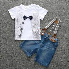 2pcs Toddler Kids Baby Boy T-shirt Tops+Denim Jeans Bib Pants Outfit Clothes Set