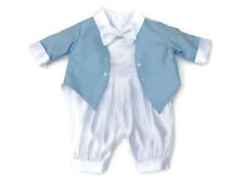 Baby Boys White Christening Romper Suit with Blue Tail Jacket