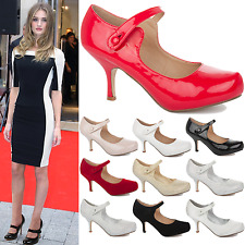 LADIES WEDDING BRIDAL BRIDESMAID MID PARTY PROM WOMENS COURT SHOES HEELS SIZE