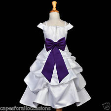 WHITE WEDDING BRIDAL BRIDESMAILD FLOWER GIRL DRESS RECEPTION JUNIOR 2 4 6 7 8 10