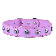 Rhinestone Collar Crystal Studded Pu Leather Dog Collar Adjustable Pet Products
