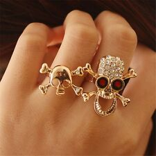 Practical Typical Gothic/Punk Gold/Silver Crystal Skull Two Finger Double Ring~