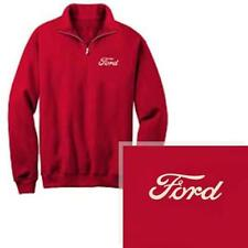 Ford Embroidered Chest Logo Licensed Red 1/4 Zip Fleece Pullover Sweatshirt L-2X