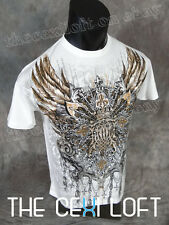 NEW MENS KONFLIC GRAPHIC T-SHIRT Tribals White Silver Foil Highlights UFC MMA