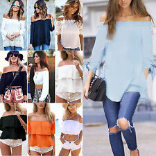 Womens Summer Off The Shoulder Long/Short Sleeve T-shirt Casual Loose Top Blouse