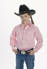 Kid's Girl's New Western Cowboy Button Down Cotton Shirt Pink