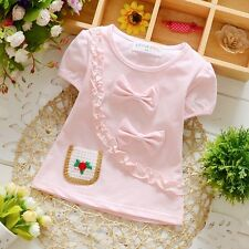 New Baby Girls Party Bowtie Top Short Sleeve Ruffle Cotton Children Kids T-Shirt