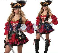 adult Womens Sexy Viking Pirates Fancy Dress Halloween Cosplay Costume Outfit
