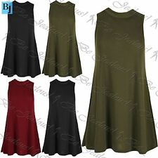 Womens Ladies Ribbed Sleeveless Top Polo High Neck Baggy Loose Flared Swing Vest
