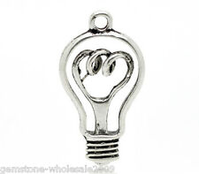 Wholesale Lots Silver Tone Light Bulb Charms Pendants 32x17mm