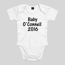 Personalised Baby Surname 2016 Baby Shower Gift Bodysuit Baby Grow 0-18mths