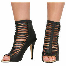 NEW WOMENS GLADIATOR HIGH HEEL CAGED CUT OUT LADIES ANKLE SHOES SIZE 3-7