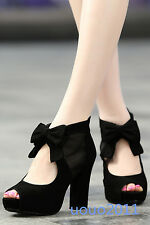 Womens Open Toe Block High Heel Black Platform Faux Suede Cut Out Roma Shoes Sz