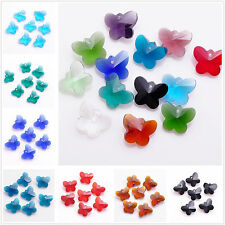 10pcs 14X12mm Butterfly Crystal Glass Loose Beads Findings DIY Pendants Charms