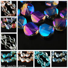 10pcs14mm Twist Discoid Faceted Crystal Glass Charms Findings Loose Spacer Beads