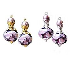 Earrings, Purple MAuve lampwork and pearl, gold or silver, clip on or pierced
