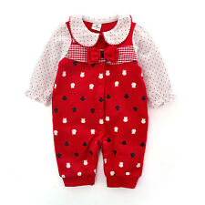 Newborn Baby Girl Clothe Red Bowknot Infant Princess Jumpsuit Cotton Baby Romper