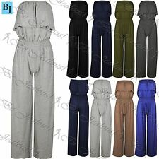 Ladies Bandeau Strapless Boob Tube Playsuit Womens Ruffle Frill Short Jumpsuit