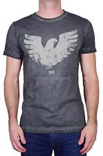 LEVI'S MEN'S SHORT SLEEVE TEE GRAPHIC COTTON EAGLE WINGS T-SHIRT GREY