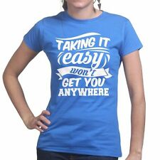 Taking It Easy Fitness Gym Running Training Workout Body Building Womens T shirt