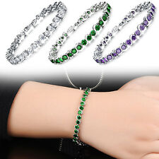 Luxury Women Rhinestone Cubic Zirconia Inlaid Copper Platinum Bracelet Chain