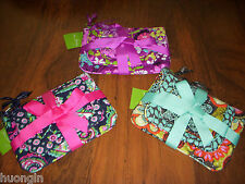 Vera Bradley FLOWER SHOWER, FLUTTERBY, or PETAL PAISLEY Travel Cosmetic Trio NWT