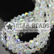 80 FACETED BICONE CRYSTAL GLASS BEADS CLEAR AB 4MM / 5MM / 6MM - BY STAR BEADS