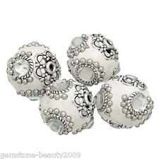 "Wholesale HOT Off-white Clear Rhinestone Flower Clay Beads 21x20mm(7/8""x6/8"")"