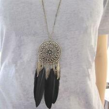 BOHO Retro Charm Feather Leaf Tassel Bronze Plated Pendant Long Chain Necklace
