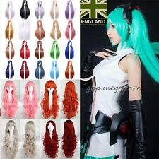 Anime Cosplay Wig Mermaid Party Hair Long Straight Curly Wavy Full Wigs Grey H10