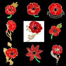 Poppy Flower Brooch Crystal Diamante Pin Badge Remembrance Gift