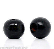 Wholesale HOT Black Dyed Round Wood Spacer Beads 10x9mm B11031