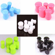 1 Pair Candy Color Acrylic Ear Plug Flesh Tunnel Gauges Double Flare Stretcher
